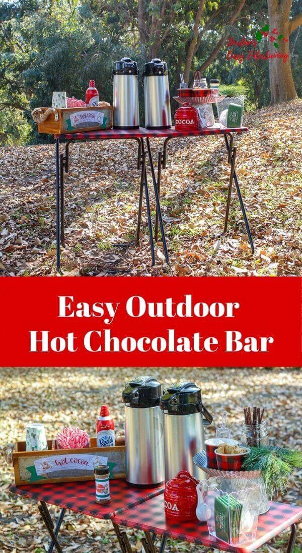 Easy outdoor hot chocolate bar