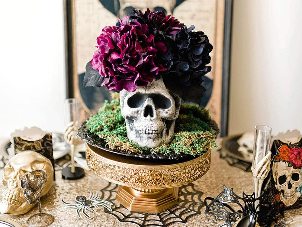 Adding black hydrangea to Floral Skull Centerpiece