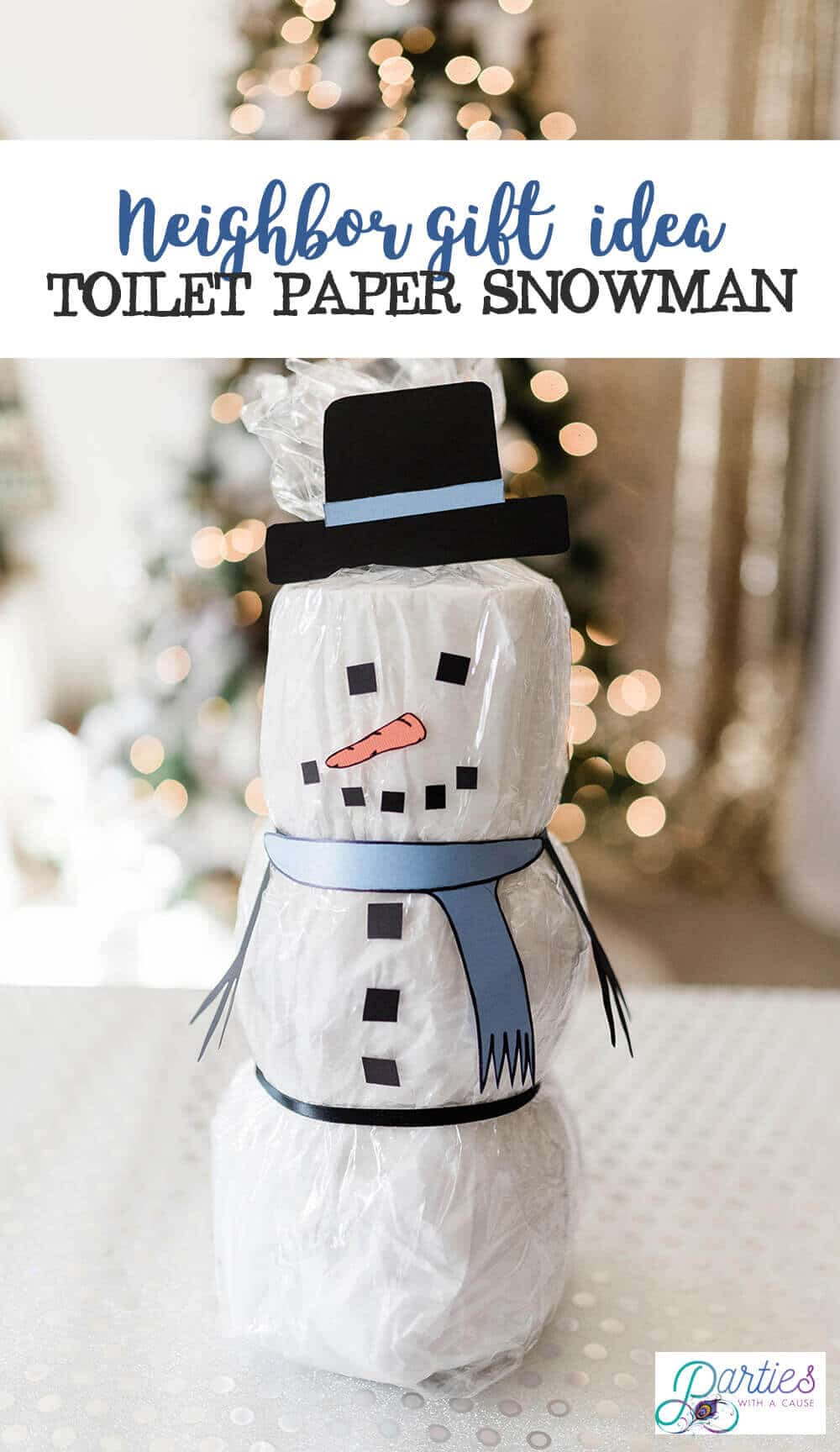 DIY Toilet paper snowman neighbor Christmas gift