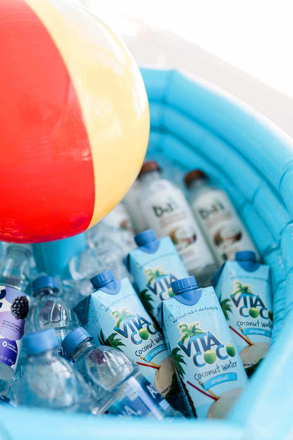 Coconut water and Bai drinks in mini beverage pool