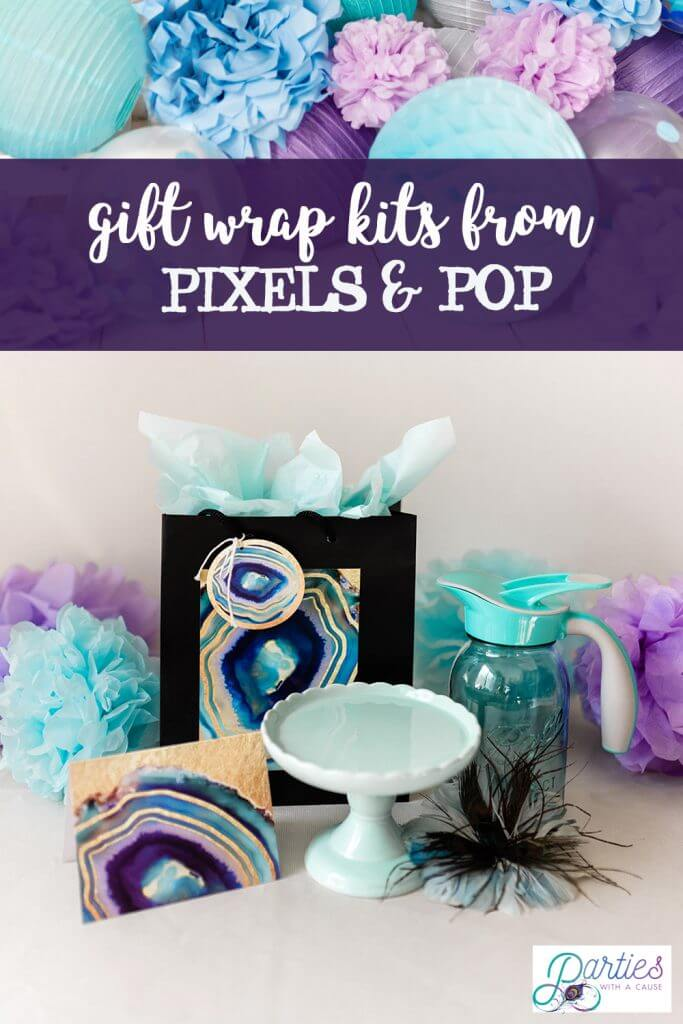 Pixels & Pop geode eco friendly gift wrap kit - Salt Lake Party Stylist