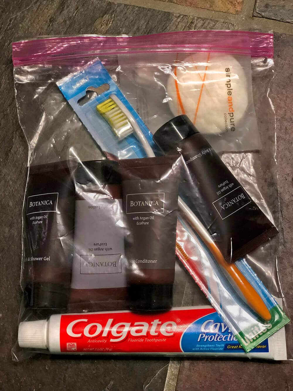Hygiene kit with unused hotel toiletries for homeless