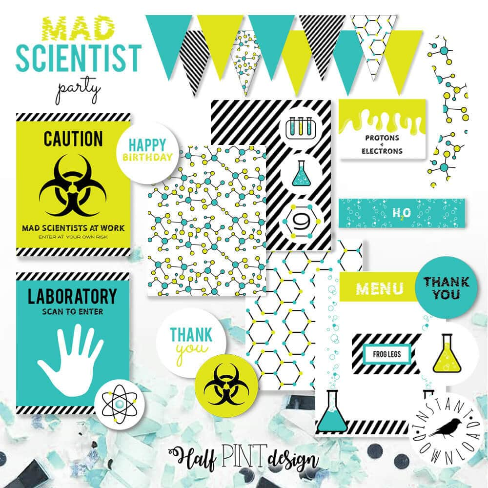 Mad science party printables