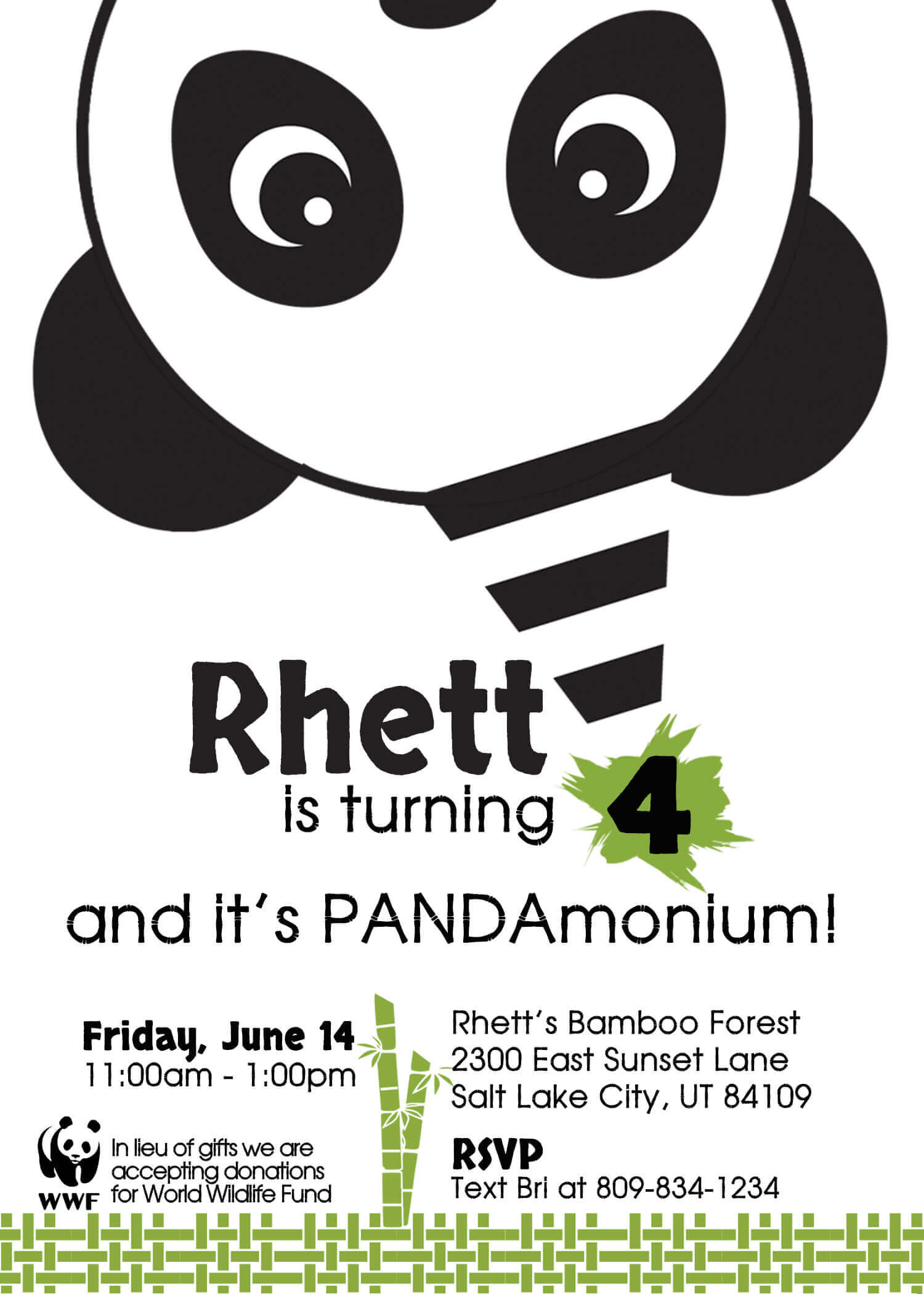 It's Pandamonium let's party like a panda invitation