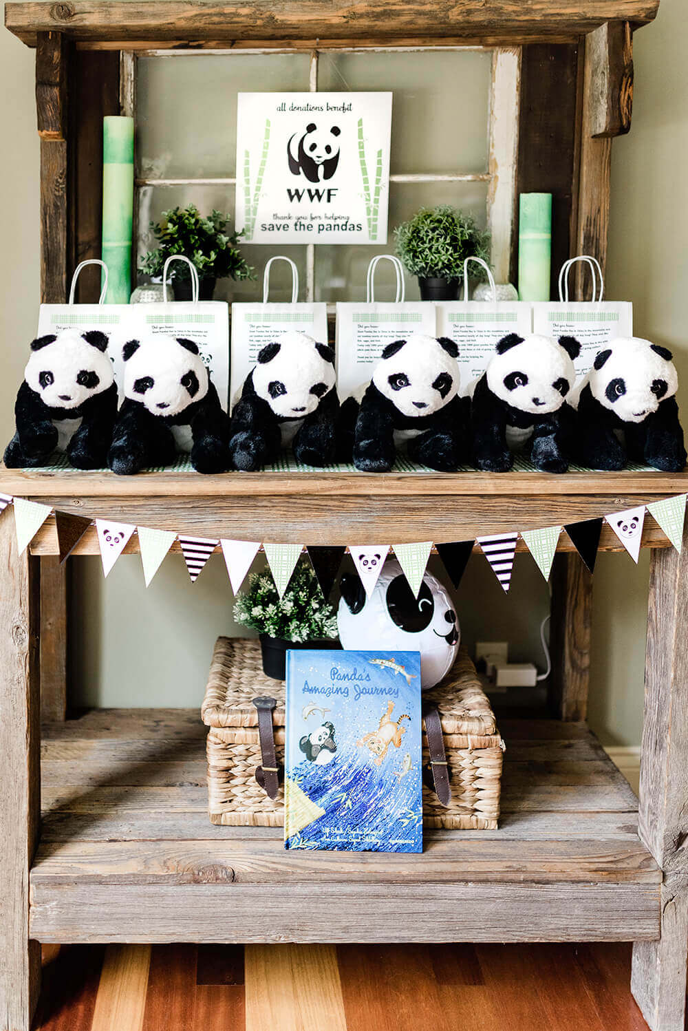Party Like a Panda favor table with plush panda bears