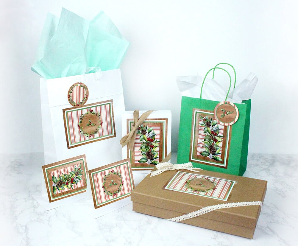 Eco friendly gift wrap kit for Christmas