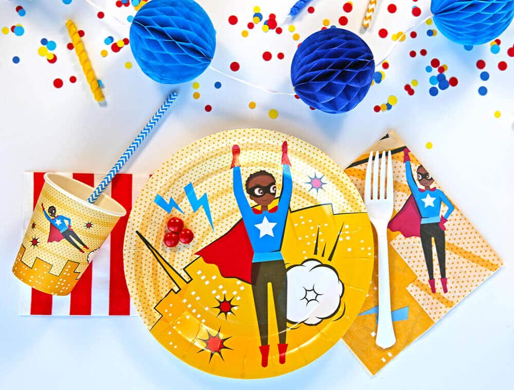 Brown skinned super hero party supplies