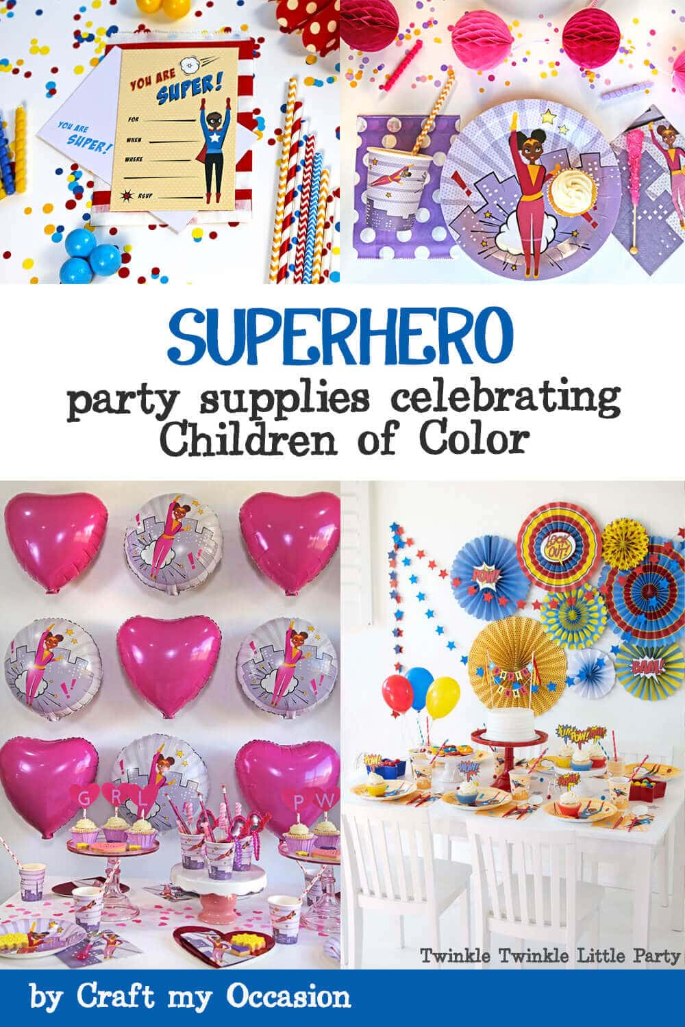 Superhero inclusive party supplies celebrating children of color