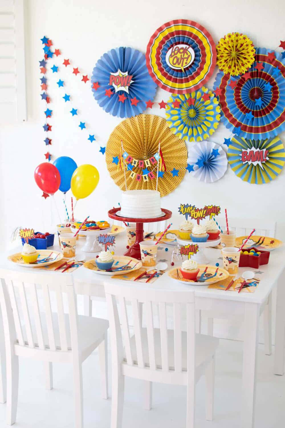 Super hero party set up by Twinkle Twinkle Little Party