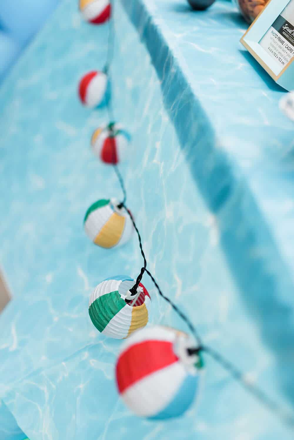 Beach ball string lights for pool party decorations