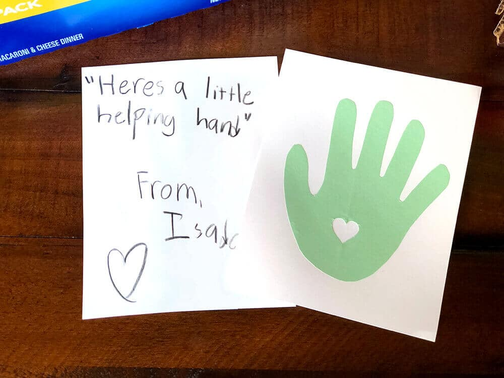 Here's a little helping hand card for pantry packs