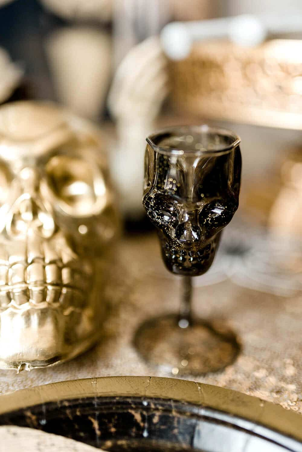 Gothic Halloween Party skull dessert cups