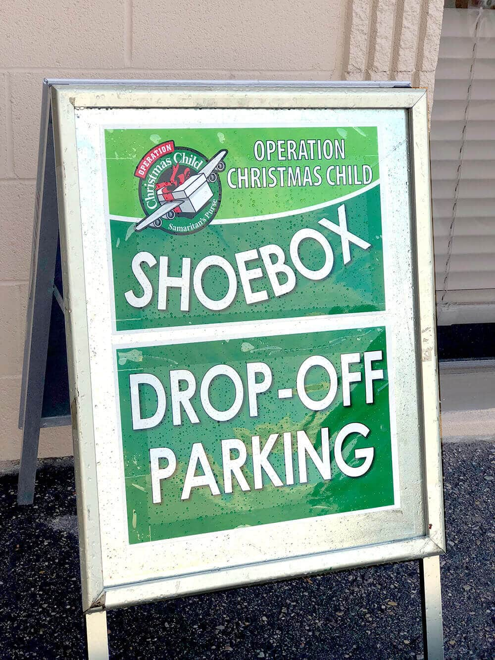 Shoebox drop off sign