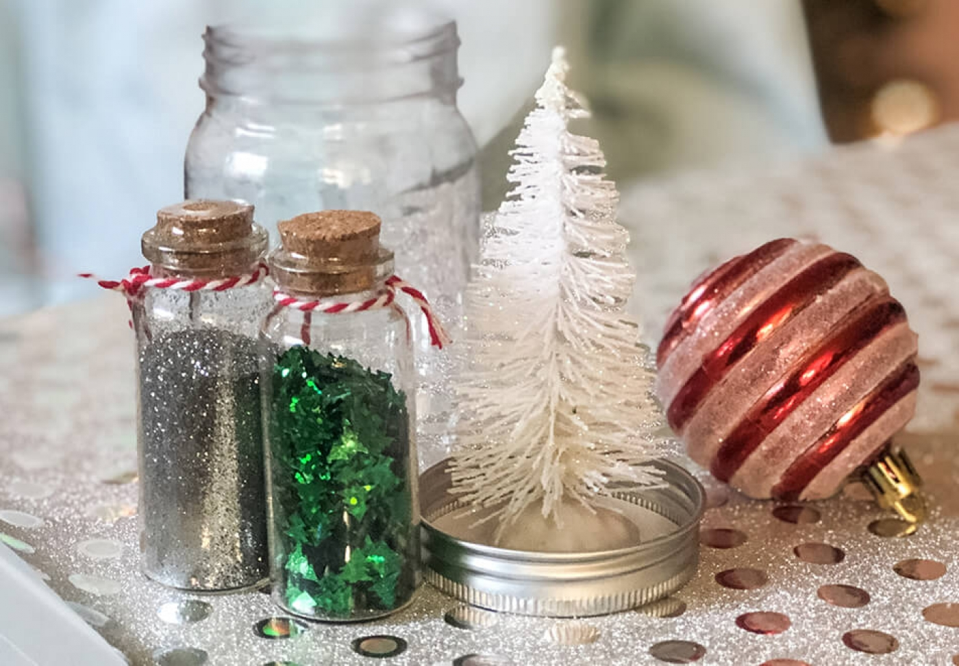 Easy supplies for a Christmas tree snow globe