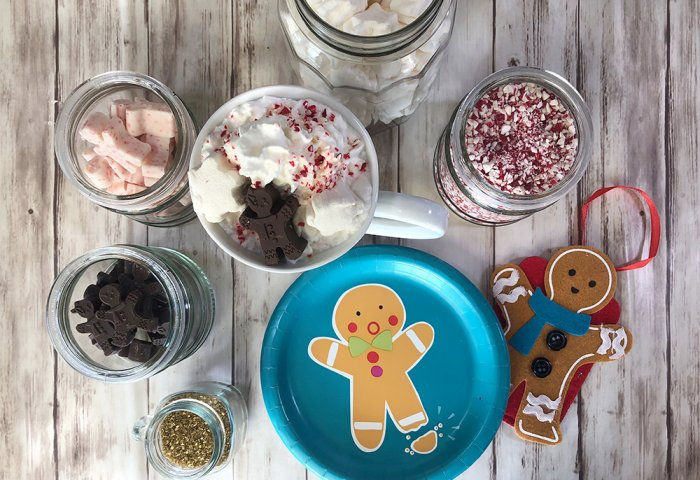 gingerbread man themed hot chocolate bar