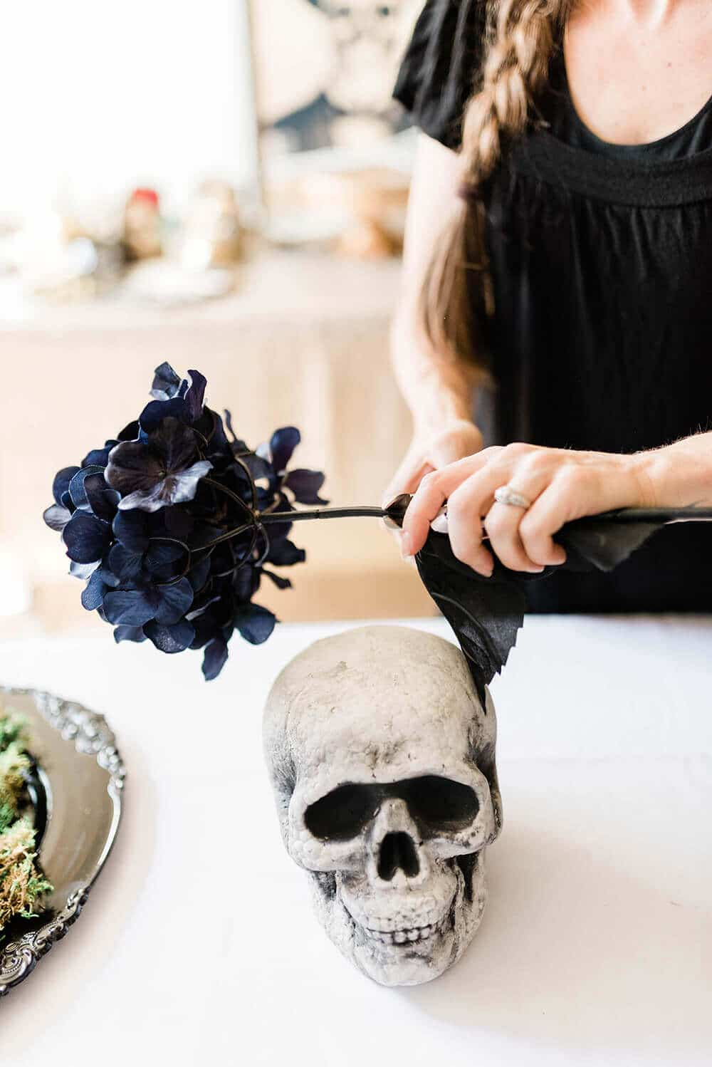 Trimming flower stem for Floral Skull Centerpiece