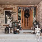 Skeleton Welcome: Halloween Front Porch Decoration Ideas