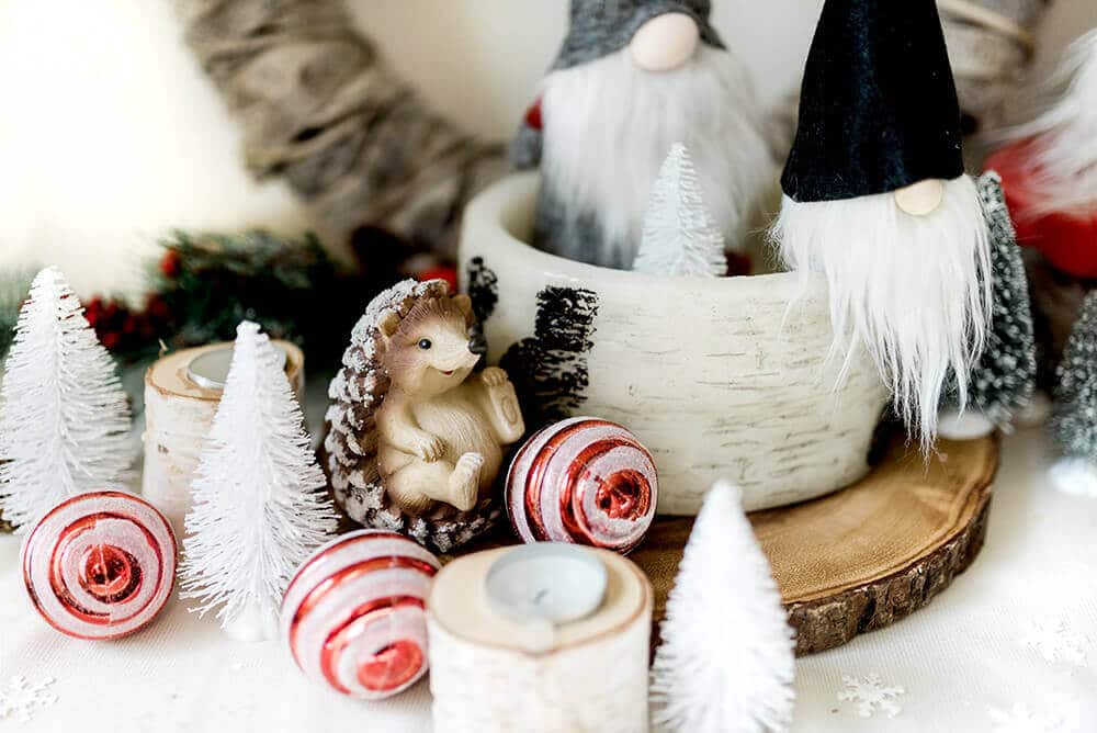 Gnome for the holidays entry table Christmas decor