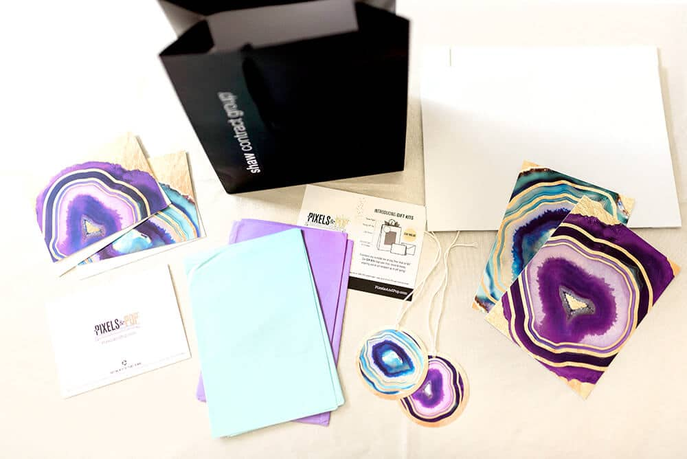 Pixels & Pop geode sustainable gift wrap kit