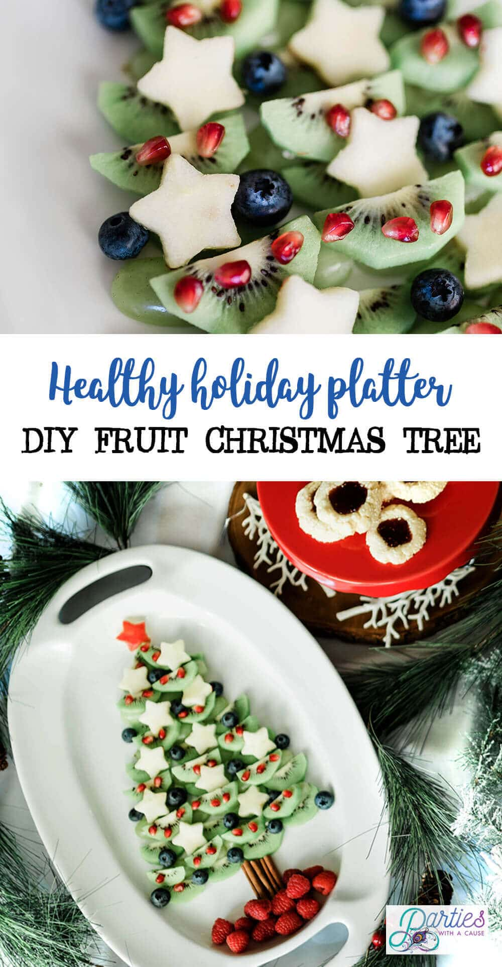 Healthy Holiday platter DIY fruit Christmas tree