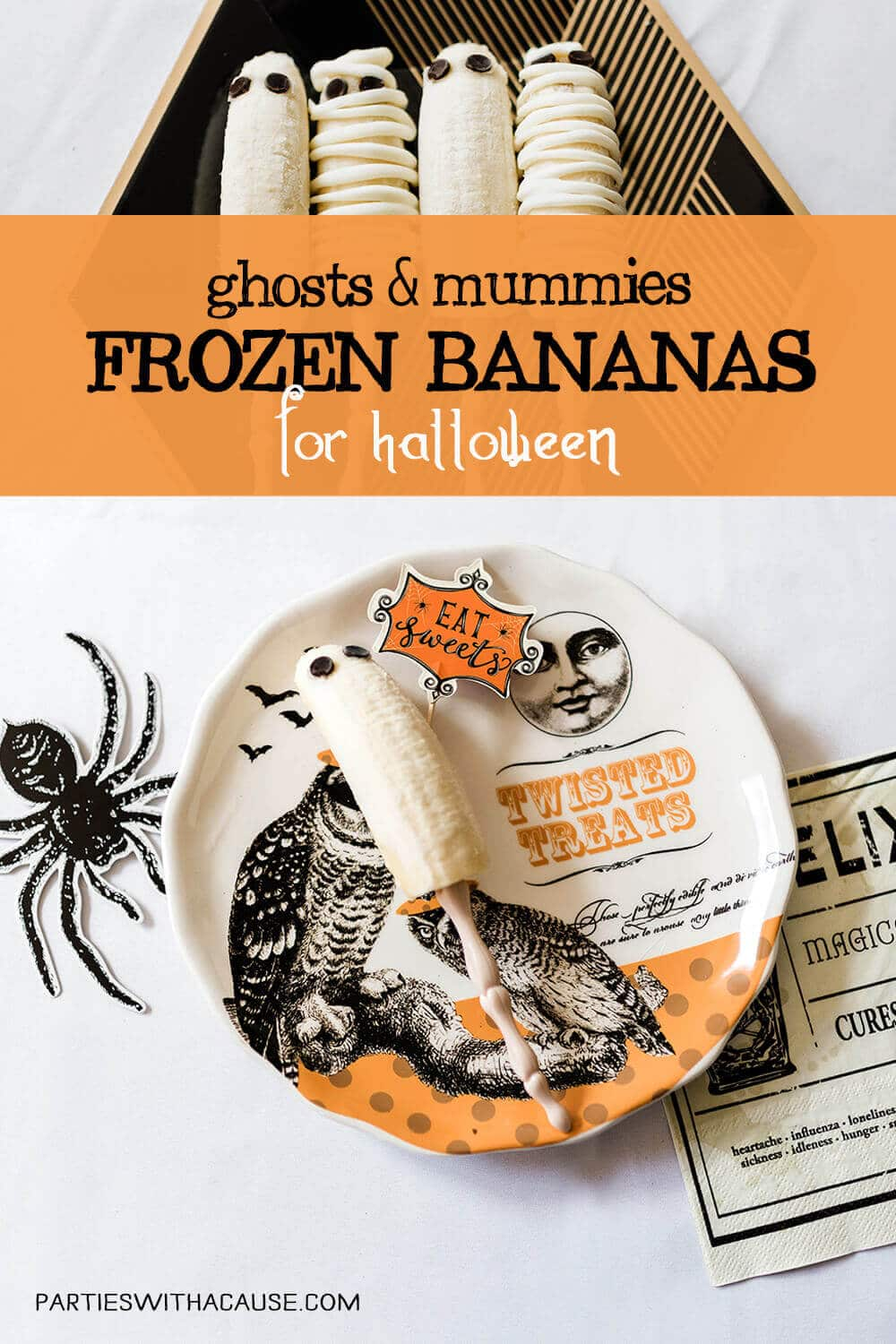 ghost and mummy frozen banana healthy halloween treat