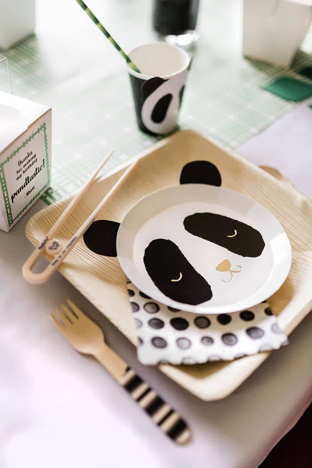 Party Like a Panda with panda plates, cups, chopsticks, and take out boxes