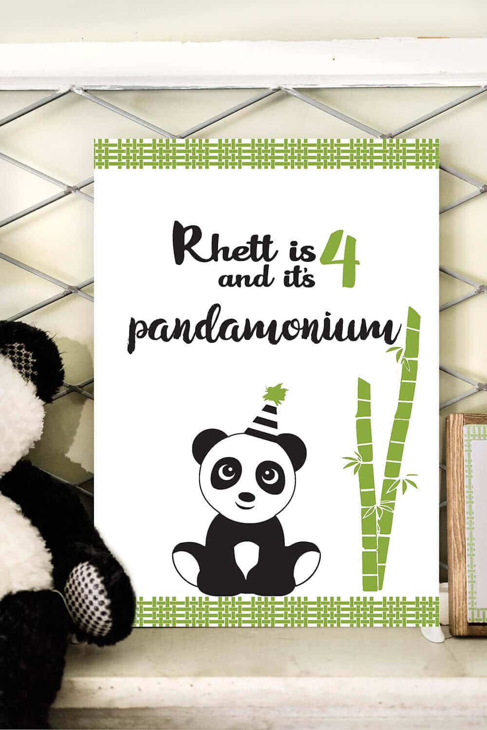 It's PANDAmonium backdrop poster to party like a panda