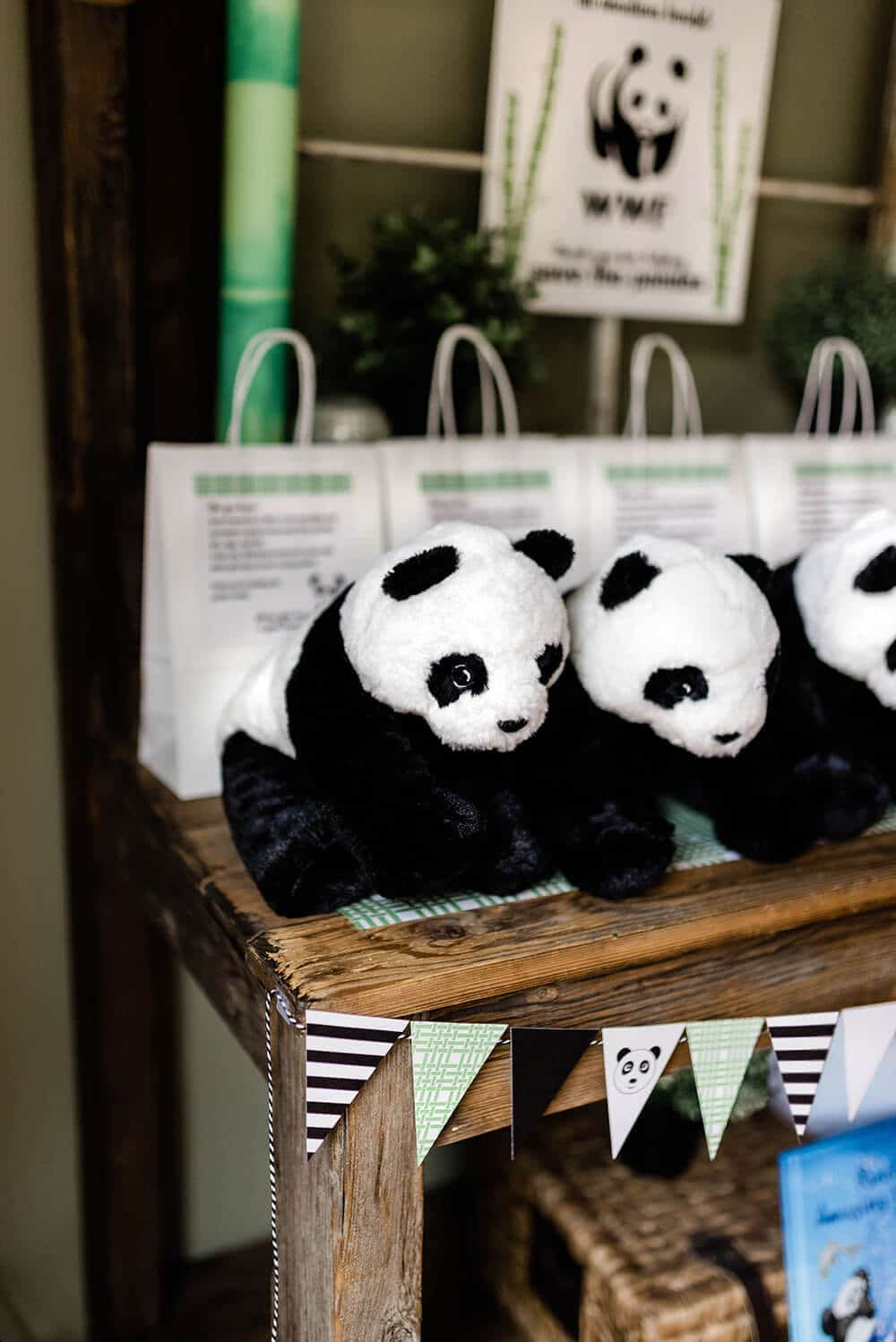 Plush panda bears as panda party favors