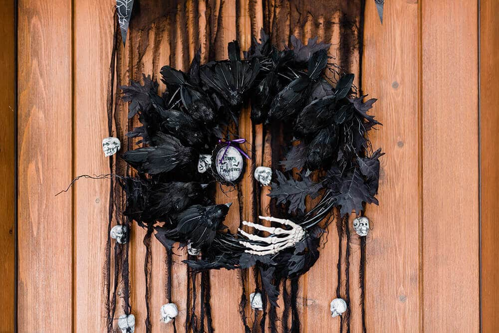 Raven wreath Halloween front porch decoration