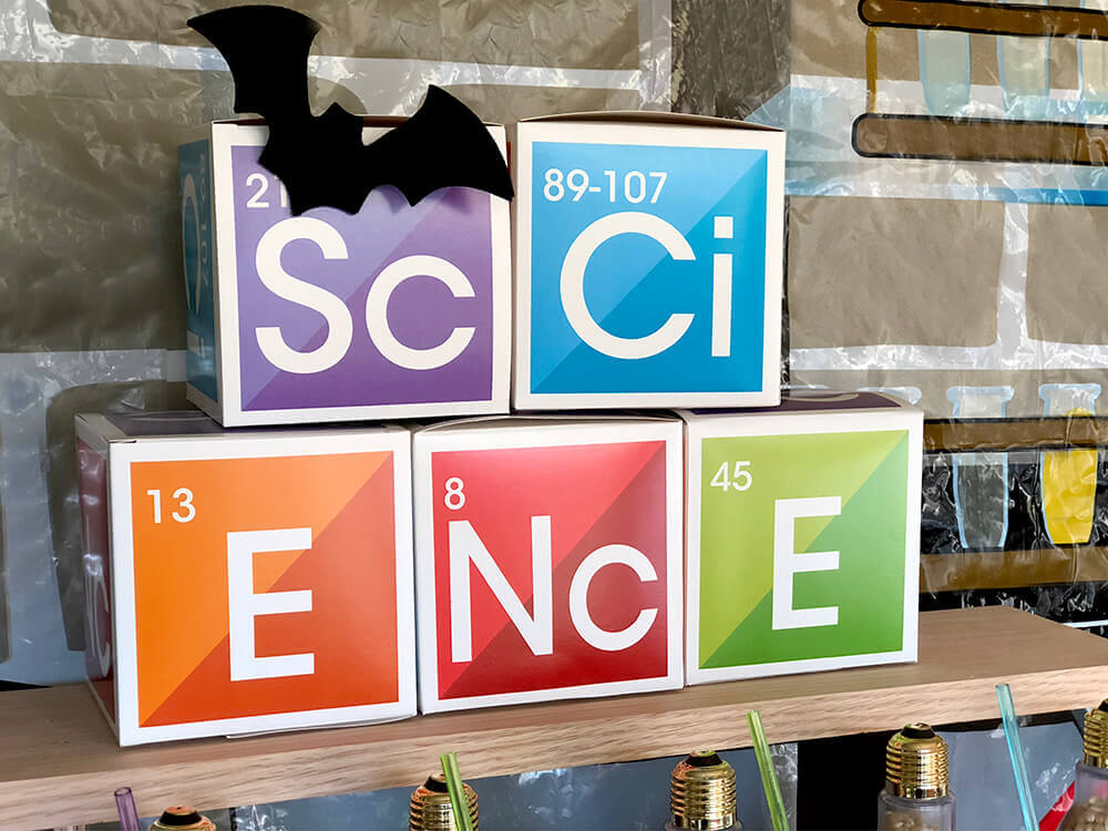 Science favor boxes