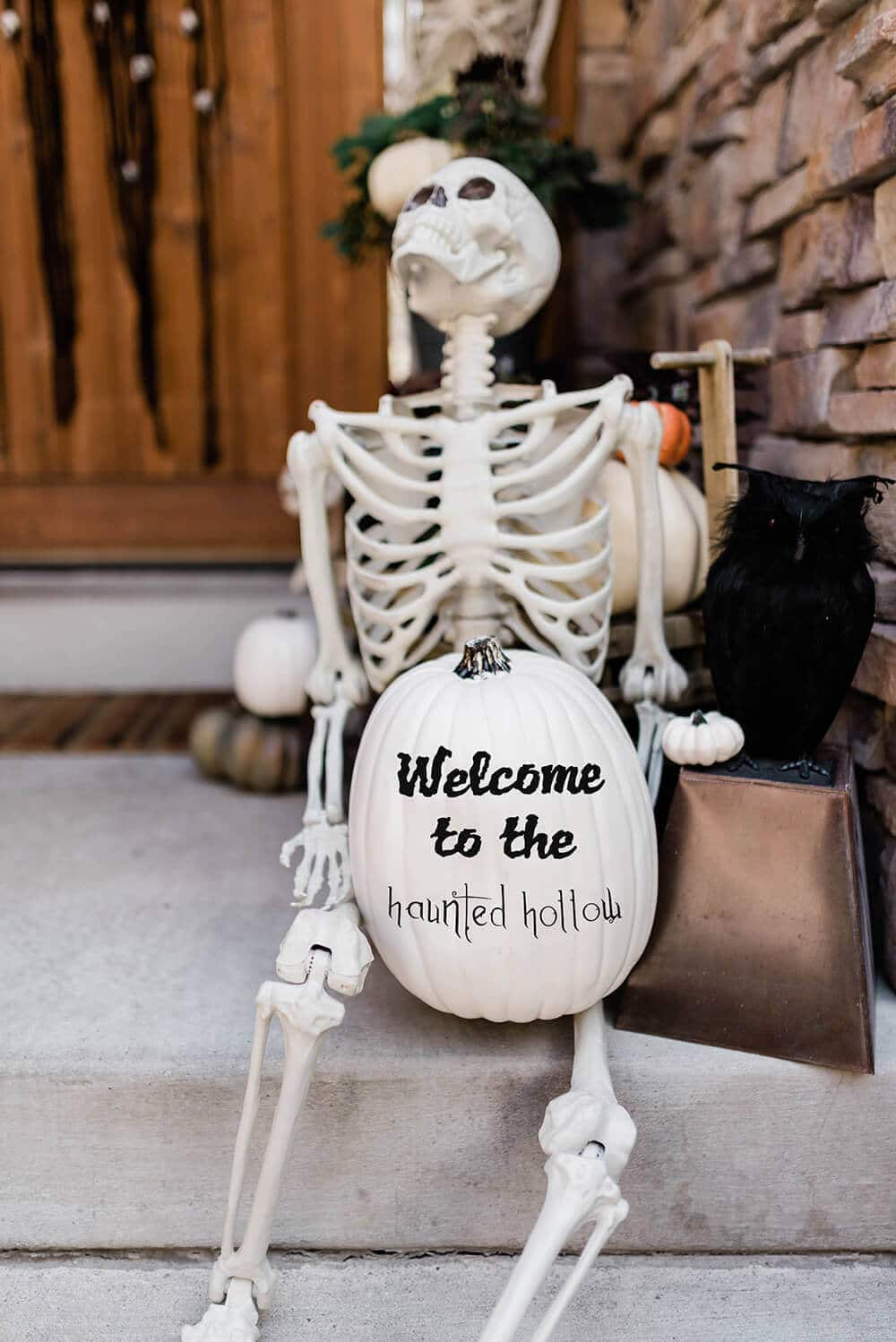 Skeleton welcome pumpkin front porch decoration