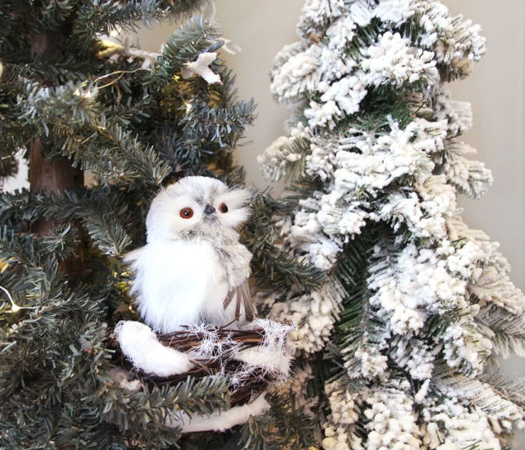 Owl in flocked tree for Winter Woodland holiday decor
