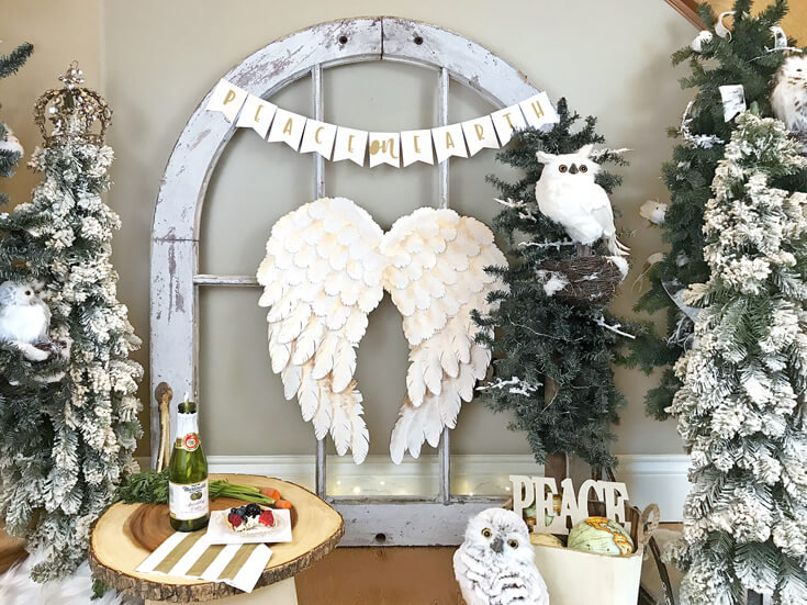 Peace on Earth Holiday Vignette with angel wings by Salt Lake Party Stylist