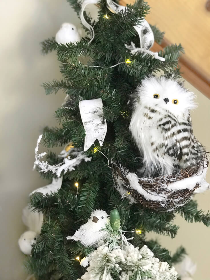 Owl and bird on tree for Woodland Christmas decoration