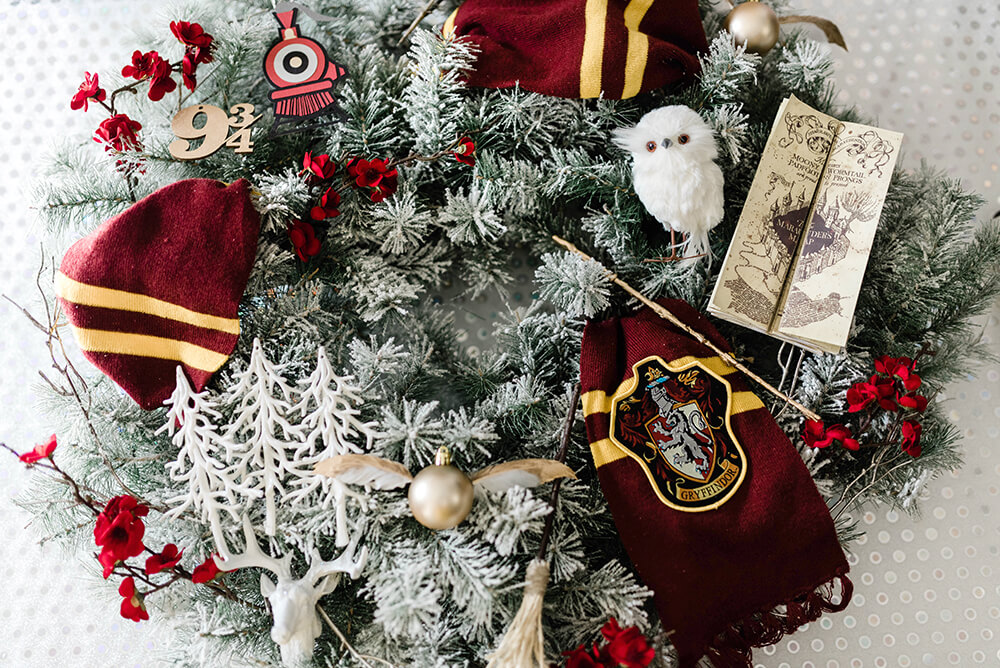 Harry Potter themed ornaments on Christmas wreath