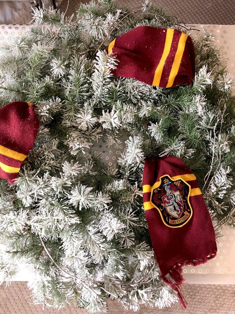 Flocked wreath with Gryffindor Scarf decor