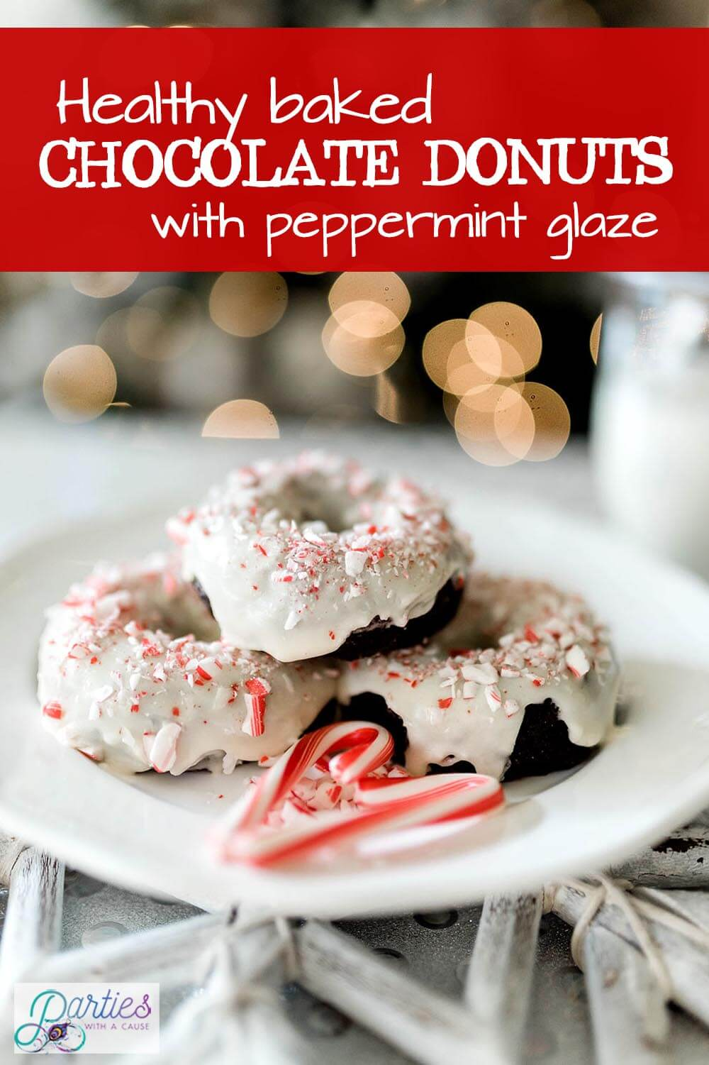 Healthy baked chocolate donuts with peppermint glaze