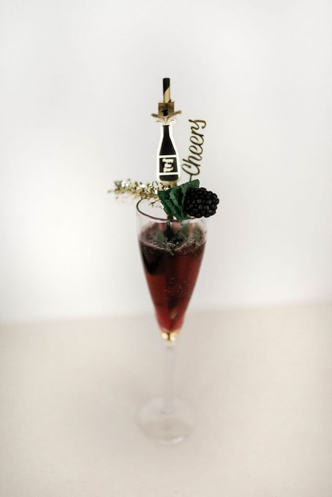 New Year's mocktail blackberry spritzer by Salt Lake Party Stylist
