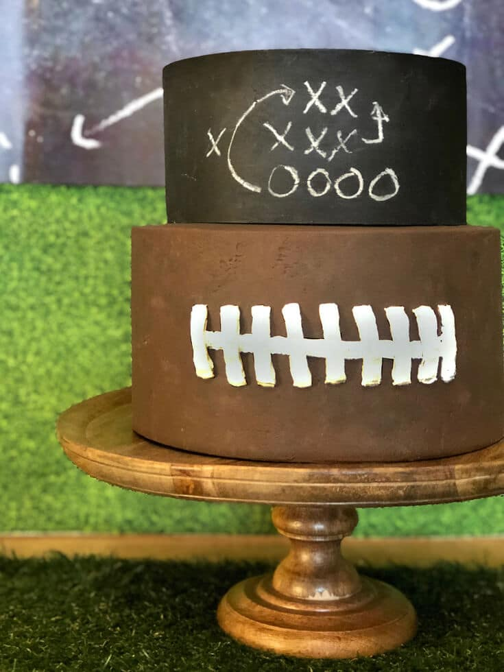 Chalkboard and football cakes