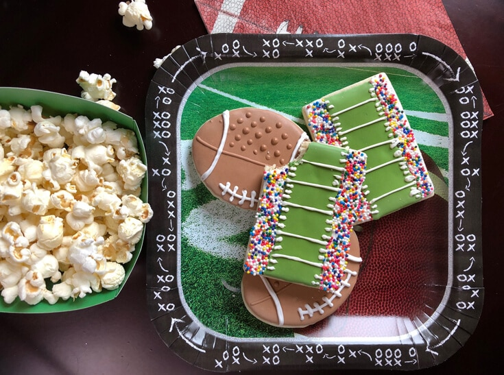 Stadium and football shaped sugar cookies