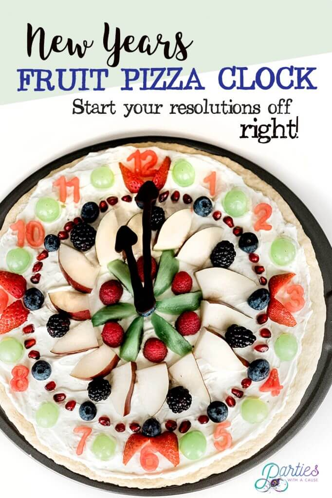 New Year's countdown with a fruit pizza dessert clock with Salt Lake party stylist