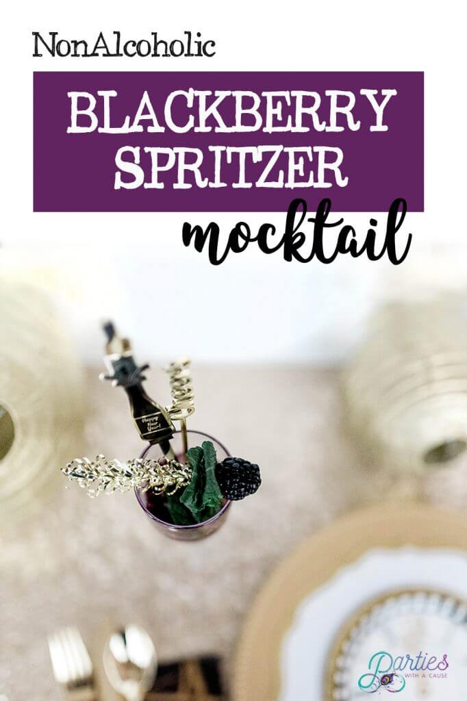 Non alcoholic blackberry mint spritzer mocktail