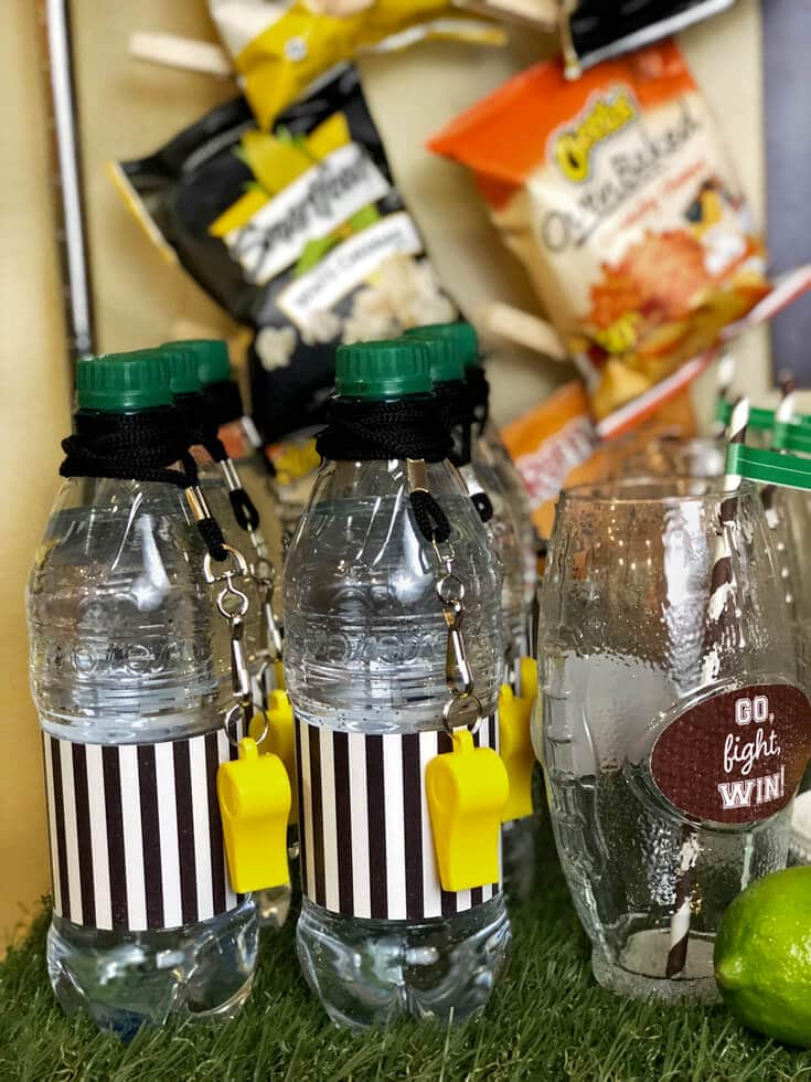 Referee water bottles with yellow whistles for all your guests