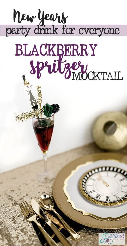 New Years Non-alcoholic blackberry mint spritzer mocktail by Salt Lake party stylist