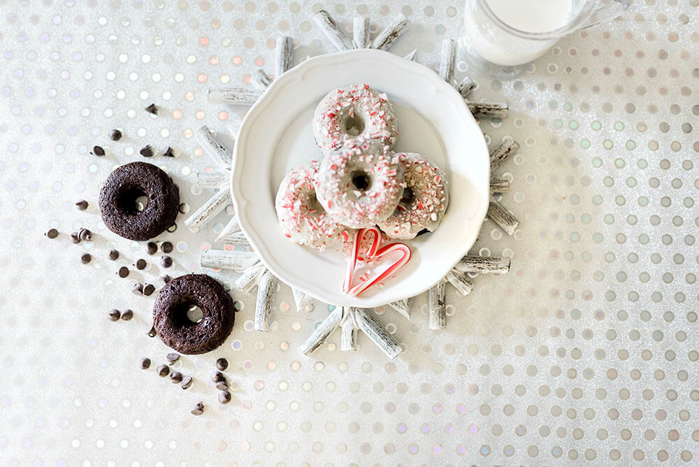 Peppermint Glazed baked chocolate donuts