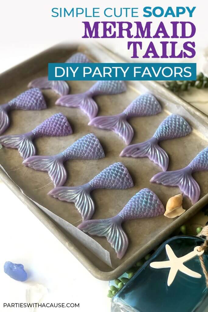 Mermaid soap tail party favors cooling on tray by Salt Lake Party Stylist