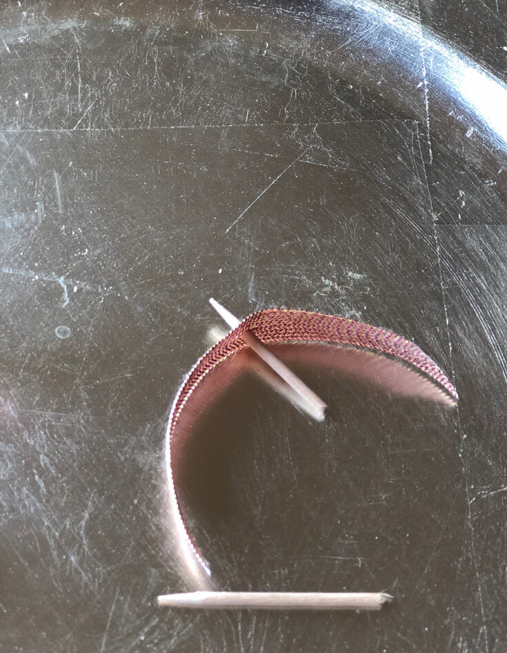 Creating a ribbon pick with piece of toothpick