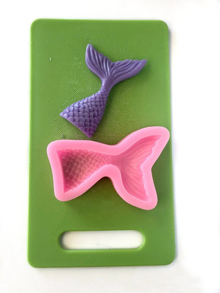 Mermaid tail silicon mold with soap