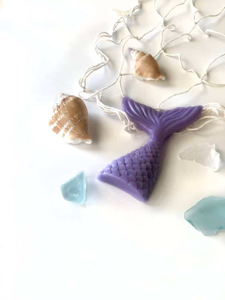 DIY Mermaid tail soap as mermaid birthday party favors