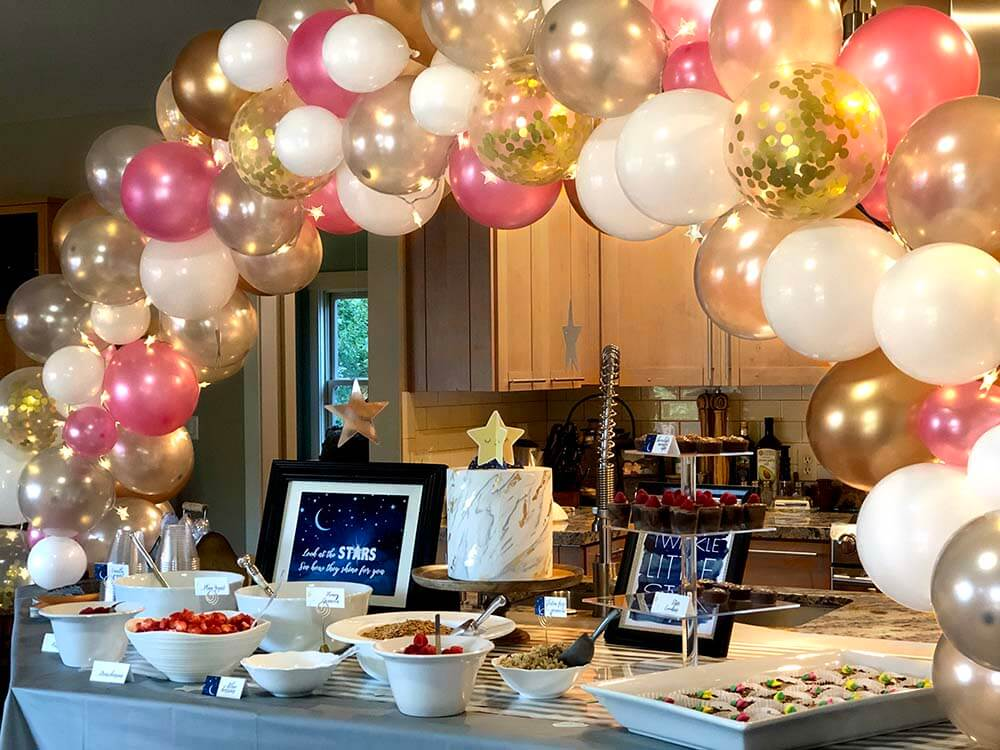 Are balloon arches biodegradable? Twinkle Twinkle little star baby shower